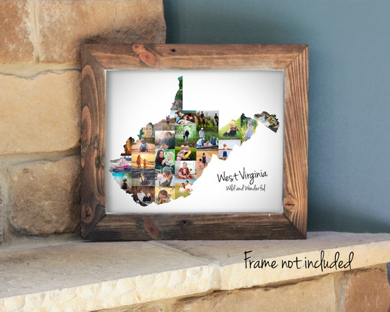 Personalized West Virginia State Map Photo Collage Gift, Custom Made Picture Collage, West Virginia Vacation Travel Souvenir