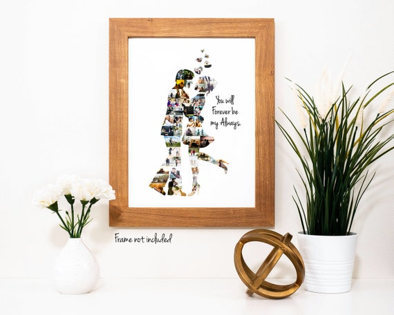 Personalized Engagement Party or Bridal Wedding Shower Decoration - Photo Collage Custom Made with your Digital Pictures!