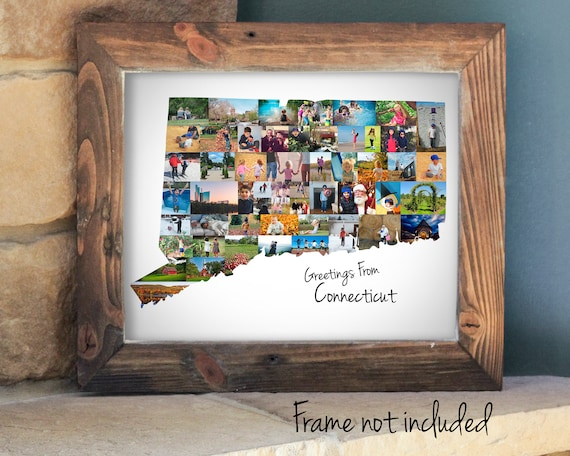 Custom Connecticut State Map Wall Art Print, Personalized Connecticut Photo Collage - Made with your Digital Pictures!