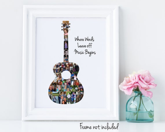 Custom Guitar Photo Collage - Music Lover Gift - Personalized with your Digital Pictures