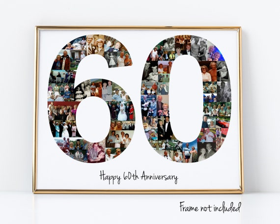 60th Birthday Gift, Number Photo Collage, 60th Anniversary Party Decoration, Picture Collage, Custom Made from your Photographs!