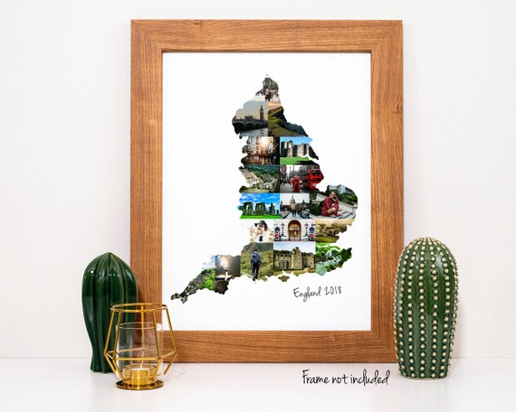 England Map Art Print, England Map Travel Gift - Personalized Photo Collage Custom Made with your Digital Pictures