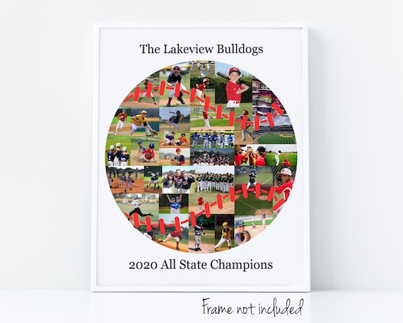 Custom Baseball Photo Collage - Sports Coach Appreciation Gift - Personalized with Your Digital Pictures!