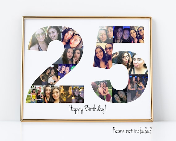 Personalized 25th Birthday Gift, 25th Party Decoration, 25th Anniversary Present, Number Photo Collage Custom Made with Your Pictures!