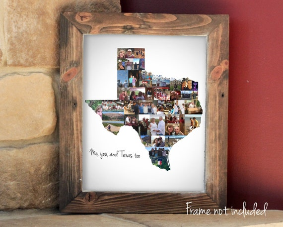 Personalized Texas State Map Photo Collage Gift