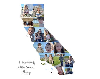 California State Photo Collage, Custom Photo Gifts, Custom Made from your Photographs, United States Picture Collage, California Art