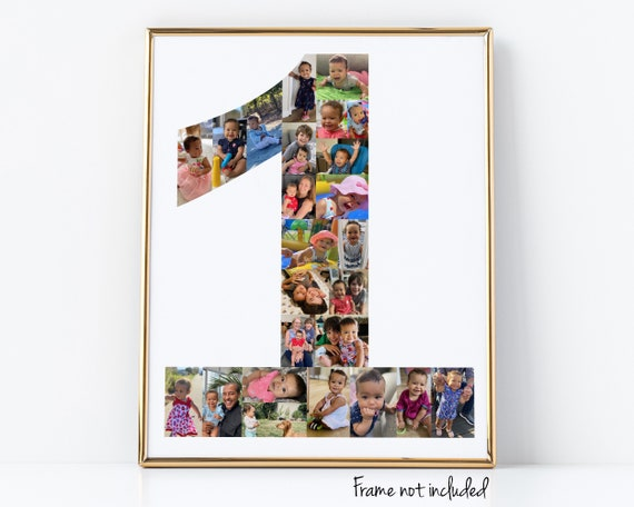 Baby's First Birthday Gift, Personalized Number 1 Photo Collage - Custom Made with Your Digital Pictures!