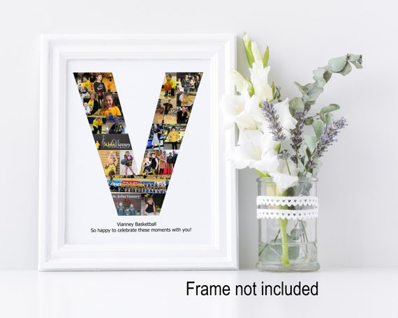 Letter V Photo Collage - Personalized Monogram Picture Collage - Birthday Wedding Gift