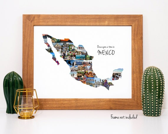 Personalized Mexico Map Wall Art, Mexican Vacation Travel Photo Collage Gift - Custom Made with Your Digital Pictures!