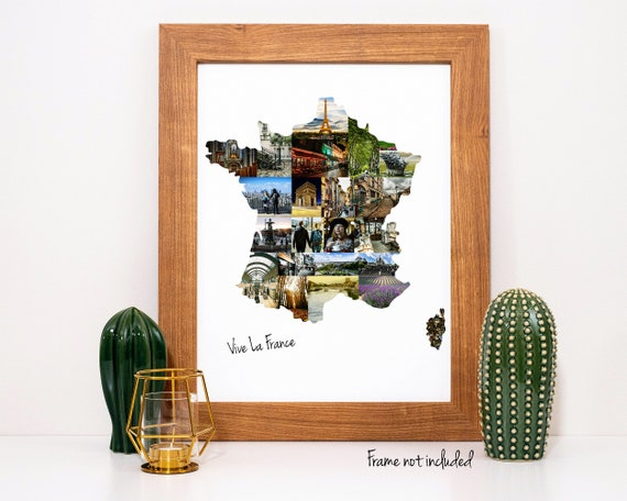 Custom France Map Photo Collage - French Travel Souvenir - Personalized Friend Gift