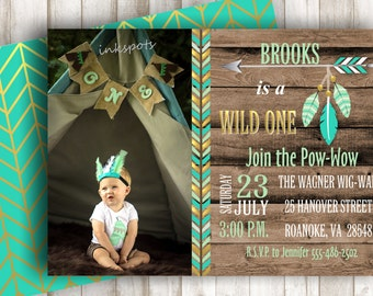 Wild One Invitation Tribal Birthday Party Wild One Birthday Party Aztec Birthday Invite Tribal Invitation Boy 1st Birthday Invite BRAZ03