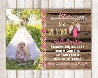 Wild One Invitation Tribal Birthday Party Wild One Birthday Party Aztec Birthday Invite Wild One Party Girl 1st Birthday Invite BRAZ06