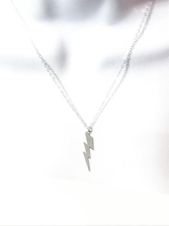 Silver Lightning Bolt Necklace \u2022 18 Sterling Silver Chain \u2022 Zeus Necklace \u2022 Bolt Necklace \u2022 Layering Necklace