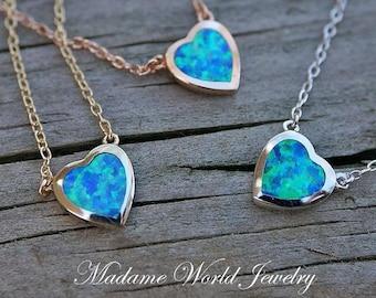 Reconstitute Blue  Opal Bezel Set Heart Necklace *NEW*