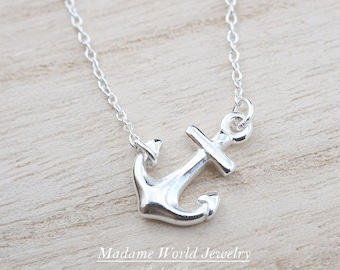 Navy Wife Gift Beach Necklace Bridesmaid Gift Sideways Anchor Necklace Sterling Silver Anchor 14K Gold Fill Anchor Navy Mom Necklace