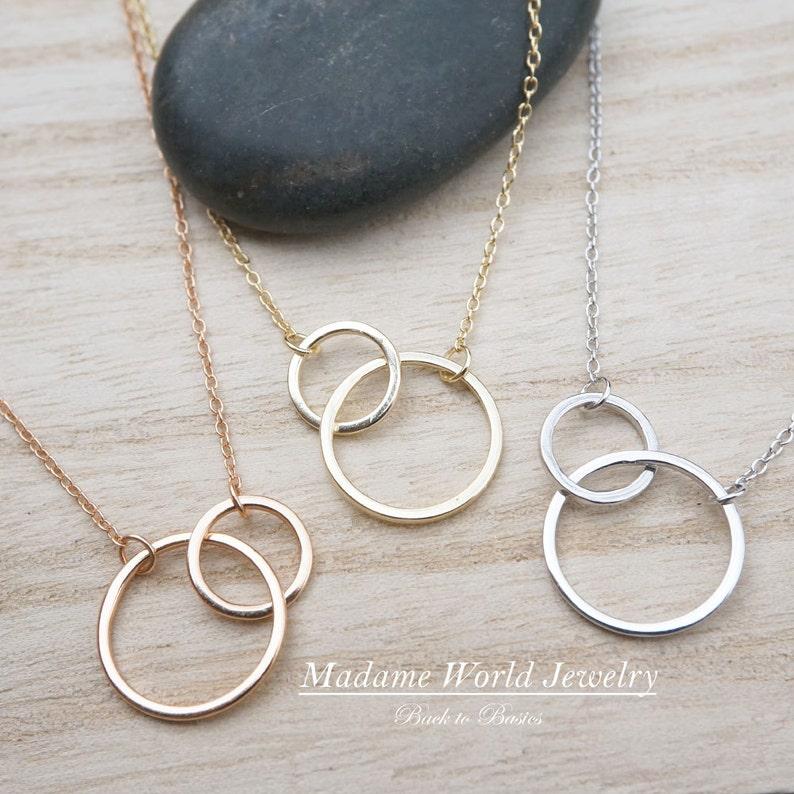 ,friendship karma Sterling Silver interlocking links circles Necklace