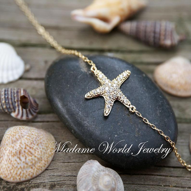 Dainty CZ Starfish Armband Zomer perfecte strandbruiloft