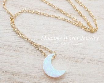 Reconstitute White Opal Crescent Moon Necklace