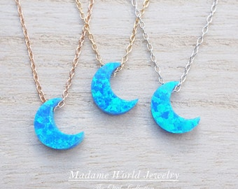 Reconstitute Blue Opal Crescent Moon Necklace, Opal Moon Necklace, Blue Opal Moon Necklace, Opal Jewelry, Blue Opal Jewelry