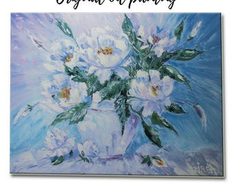 Gifts-for-mom Painting oil flowers Original painting flower blue painting Wall hanging Decor Art Gift-for-her Gift-for-women still life Art