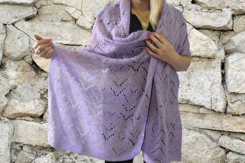 Gift for her knit scarf women knitted shawl Wedding lace Women image 0