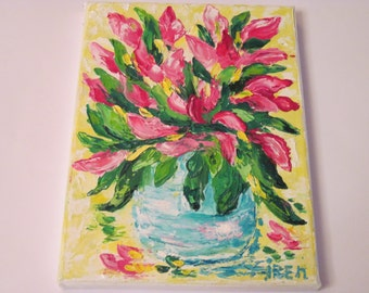 Small Oil Painting Flower Still Life colorful painting flower girl gift mom best friend gift girlfriend paint botanic art home decor bedroom