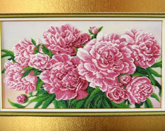 Gift-for-her Gift-for-women Flowers-for-wall Beaded painting Beads picture Interior gift Decor room girls personalized gift-for-mom Painting