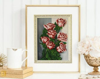 Roses Gift-for-her Embroidered beaded personalized Beaded picture Christmas gift Rose floral Flower art Hand embroidery Gift-for wife Art