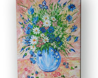 Flowers Original Painting Oil Daisies Texture Wall Art Kitchen decor Gift-for-her Cornflowers flowers painting Art Wildflowers Gifts-for-mom