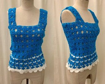 964494a436b 1970s Bright Teal and White Hand Crocheted Tank   Open Knit Tank