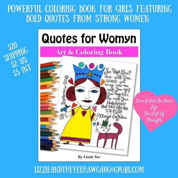 Feminist Coloring Book for Women and Girls, Girl Power, Empower Women,  Inspirational Quotes