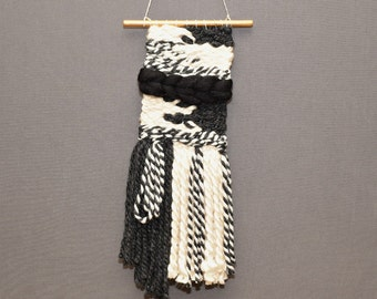 Sale!!! woven wall hanging, textile art, bohemian tapestries, wall decor, boho decor, black and ivory