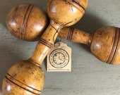 Antique Wooden Dumbbells 3 4 lbs each. Great display piece fits into various design schemes.