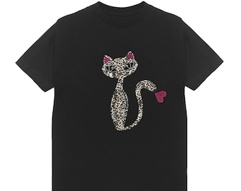 64827594f2d56 Leopard Long Cat Patch   Rhinestone Women s Crew Neck T-Shirts