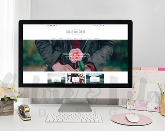 Styled Stock Photography Desktop with Gold // Flowers // Website // iMac