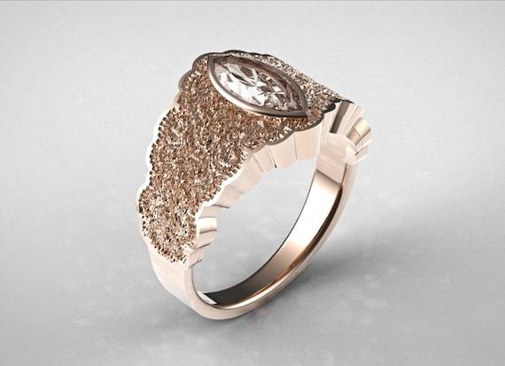 Marquise Pierścionek Zaręczynowy Unikatowy Pierścionek Zaręczynowy Marquise Cięcia Pierścionek Zaręczynowy Diamentowe Różowe Złoto Złoty