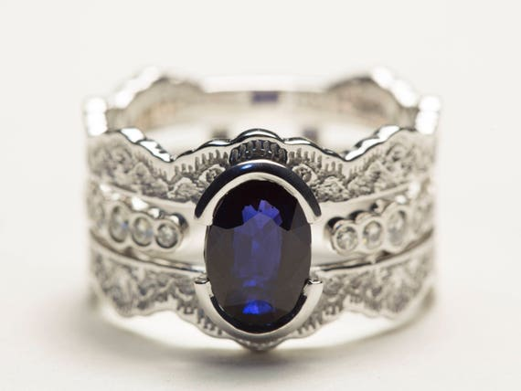 Wedding Ring Set Sapphire Bridal Set Diamond Bridal Set Etsy