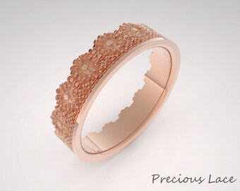 Unique Crown Ring with Flower Lace Texture, Wedding Ring, Wedding Band, Crown Shaped Ring, Crown Gold Ring, Golden  Crown Ring, Ring for her