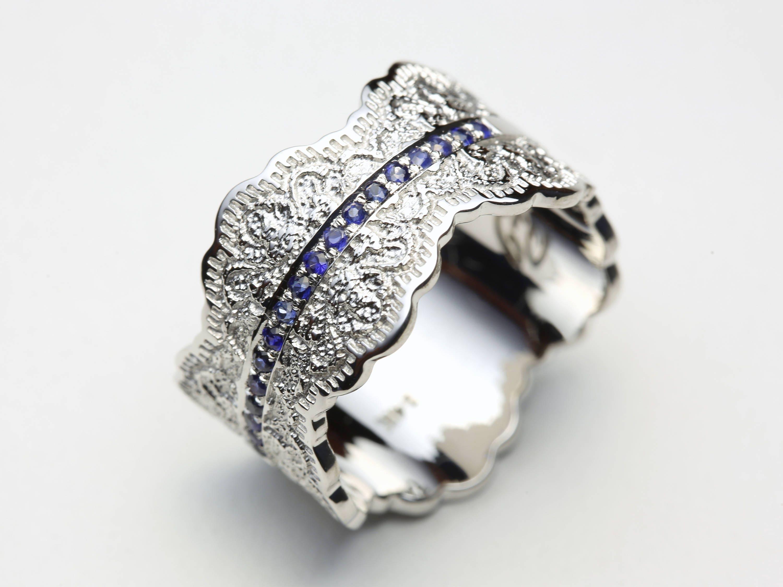 Sapphire Wedding Rings.Blue Sapphire Ring Sapphire Wedding Band Sapphire Engagement Ring Sapphire Wedding Ring Gold Lace Ring Sapphires Ring Gold Sapphire