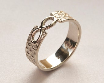 Men's Infinity Ring, White Gold Infinity Ring, Infinity Wedding Band, Infinity Band Ring, Infinity Knot Ring, Men's Gold Wedding Ring,