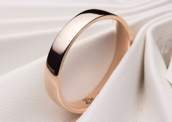 Rose Gold Wedding Ring Rose Gold Wedding Ring Simple Wedding Etsy