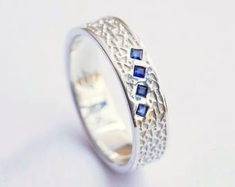 Men's Wedding Ring, Men's Sapphire Ring, Men's White Gold Ring, Men's Wedding Band, Mens Ring Gold, Mens Ring Sapphire, Mens Ring Wedding