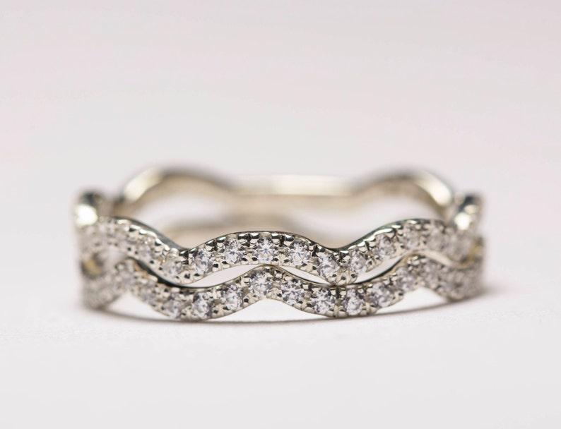 Geschwungenen Ehering, gewellte Ring, geschwungener Ring, Gold Stapeln Ringe, wellige Stapeln Ringe, kurvige Ring, wellig Ewigkeit Ringe,