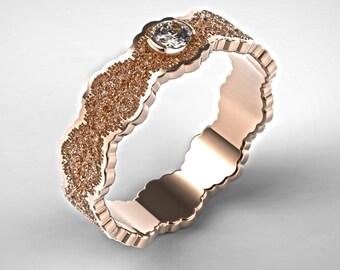 Rose Gold Engagement Ring, Diamond Engagement Ring, Unique Engagement Ring, Alternative Engagement, Art Deco Engagement, Lace Rose Gold Ring