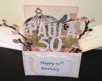 handmade 3D card in a box blossoms card-,PERSONALISED