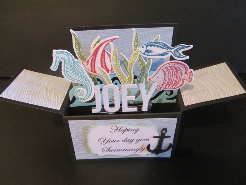 3D Handmade Birthday Card In A Box Under The Sea