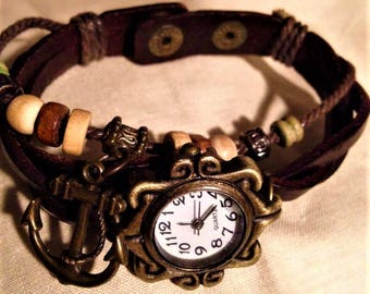 Leather and beaded watch band with anchor. FREE FAST shipping in the USA!