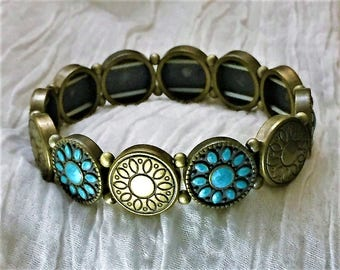 Turquoise and brass bracelet.FREE fast shipping in the USA!