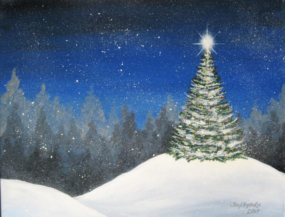 Acrylic Christmas Tree Painting.Christmas Tree In The Snow Painting Handpainted Acrylic On 16 X 20 Stretched Canvas