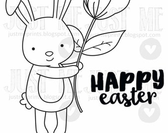 hoppy happy easter bunny digital stamp